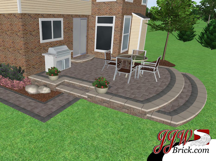 patio and landscape design tiered 3d brick patio with landscape design in bloomfield hills mi landscape - Landscape Patio Design